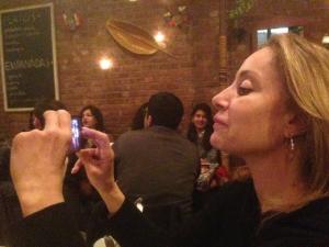 Joyce at dinner.