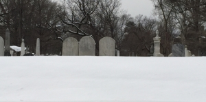 snow in graveyard