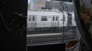 J train in window