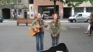 Twin Busker girls in Edinburgh